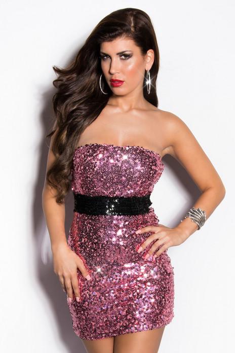Pink Sequin Minidress
