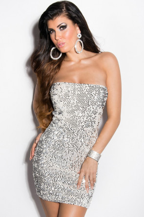 Silver Sequin Party Minidress
