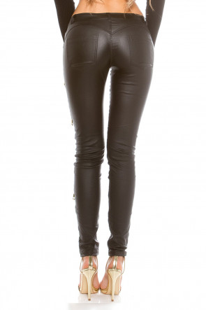 Decoration Zips Leatherlook Pants