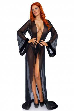 Leg Avenue Robe & string panty svart