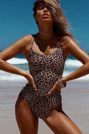 Marilyn Leopard Lace Up Swimsuit