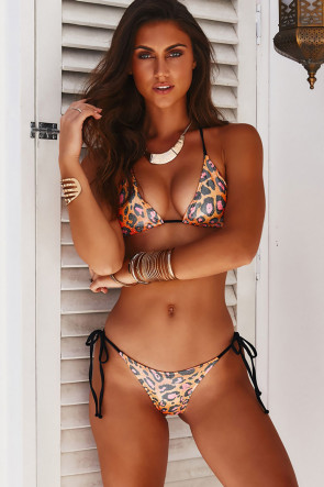 Orange Party Leopard Brazilian Thong Bikini
