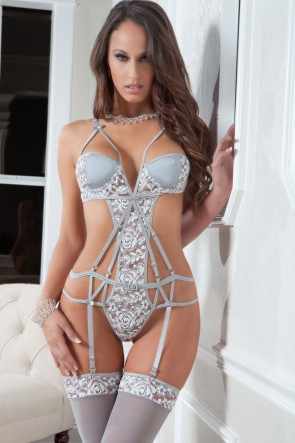 Strappy Chantilly Teddy & Stockings Set