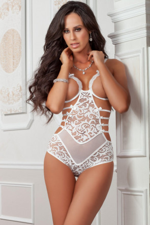 White Strappy Open Cups Teddy