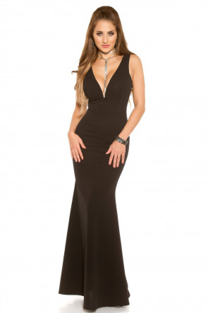 Black Red Carpet Look Evening Gown with V-Neck