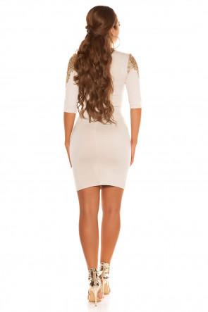 Golden Lace Dress Beige