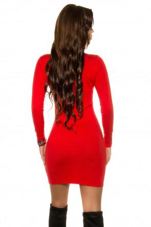 Red Fine Knit Minidress
