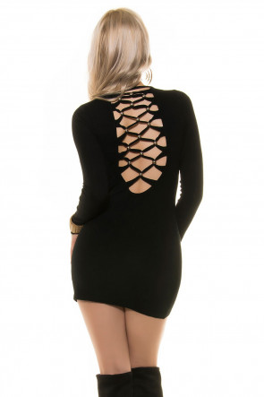Black Fine Knitted Minidress with Pearls