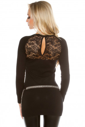 Black Rhinestones and Lace Top