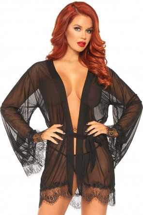 Black Sheer Robe with Flared Sleeves & Thong