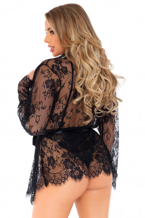 Black Floral Lace Teddy & Robe