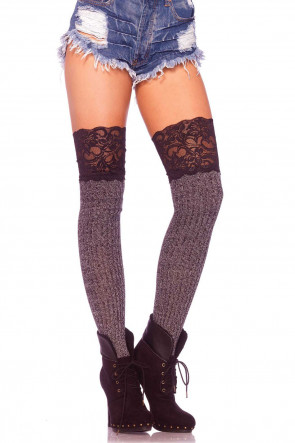 Knit Over the Knee Socks with Lace