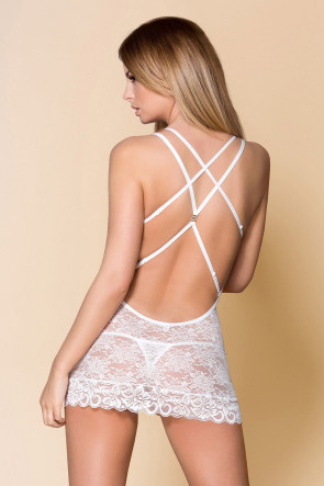 Fabulous Lace Chemise & Thong White