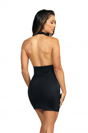 Queen of the Night - Minidress Striped Mesh Black